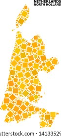 Gold square pattern vector map of North Holland. Abstract collage geographic map of North Holland is organized from scattered flat rotated square pixels.