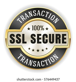 Gold ssl transaction badge / button with black border on white background