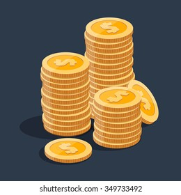 Gold stack of dollar coins. Vector isometric money icon on a colored background. Money flat icon in isometric style. Money gold coins stacks. Money illustration of wealth and condition. Money coins.