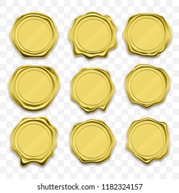 Gold stamp wax seal approval vector sealing retro label set. Quality garantee label