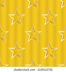 gold star 2d background as seamless vector