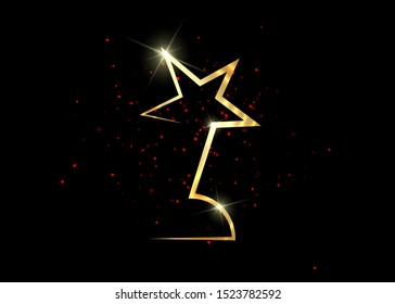 gold star award concept, vector isolated on black background and red glittering