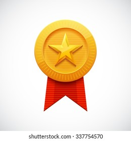 Gold Star Award. Golden Medal with Ribbon for Games. Achievement Icon. Vector illustration.