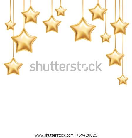 Gold Star Background Invitation Banners Flyer Image Vectorielle De