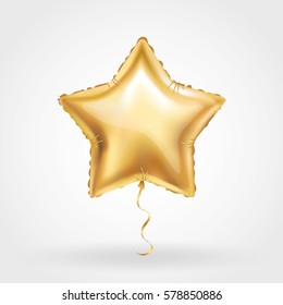 Gold star balloon on background. Party balloons event design decoration. Balloons isolated in the air. Party decorations wedding, birthday, celebration, anniversary, award. Shine Golden balloon
