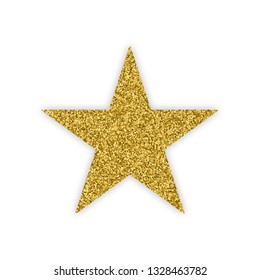Gold Star With Bland Shadows Isolated On White Background. Winner Badge. Quality Icon. Abstract Golden Glitter Texture. Vector Illustration, Eps 10.