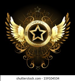 Gold star with circular banner, decorated with golden wings and pattern on black background.