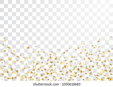 Gold star confetti celebration isolated on white transparent background. Falling stars golden abstract pattern decoration. Confetti Christmas card, New Year. Sparkles on floor Vector illustration