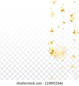Gold star confetti on transparent background.  Flying shiny sparkle shower. Holiday vector colorful confetti. Birthday party backdrop. Christmas card template
