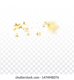Gold star confetti on transparent background.  Minimalistic fallen particle. Holiday vector colorful confetti. Birthday party backdrop. New Year card template