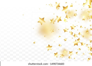 Gold star confetti on transparent background.  Flying shiny sparkle particles. Abstract vector colorful confetti. Birthday party backdrop. New Year card template