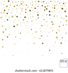 Gold star confetti rain festive holiday background. Vector golden paper foil stars falling down isolated on transparent background.