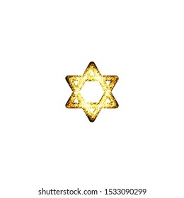 Gold Star of David. Shield of David or Magen David.hexagram, the compound of two equilateral triangles. Jewish symbol
