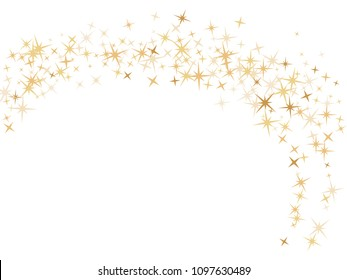 Gold star dust sparkle vector on white. Festive cosmic background with gold star elements flying. Gold glitter dust confetti, magic shining sparkles scatter vector. Starry New Year decor.