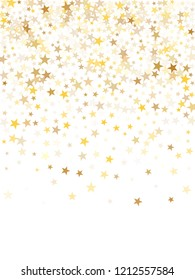 Gold star dust sparkle vector on white. Bright cosmic background with gold star elements flying. Golden glitter dust confetti, magic shining sparkles design. Starry flyer background.