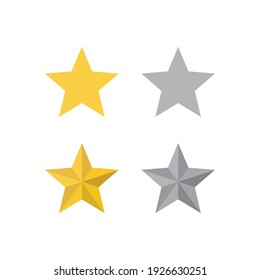 Gold star flat icon on white background