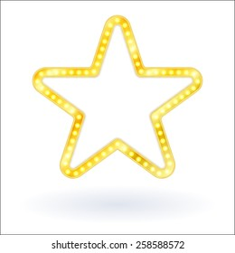 Gold star glowing retro banner on white background