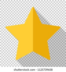 Gold star icon in flat style with long shadow on transparent background