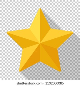Gold star icon with long shadow on transparent background