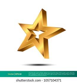 Gold Star Icon Vector Logo Template