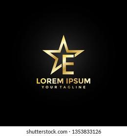Gold Star Letter E Logo Elegant Premium. Modern Logo Icon Badge Template Vector