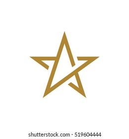 Gold Star Line Logo Template Illustration Design. Vector EPS 10.