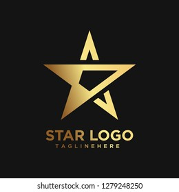 Gold Star Logo in elegant Style Geometry with Black Background - vector file is really easy to edit ( color and text )