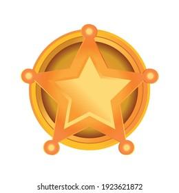 gold star logo, sheriff, vector illustration, white background