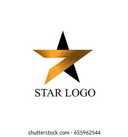 Gold Star Logo Vector in elegant Style, Vector icon illustration