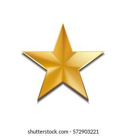 Gold star logo for your design, vector illustration, isolated on white