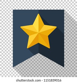 Gold star on the flag icon in flat style with long shadow on transparent background
