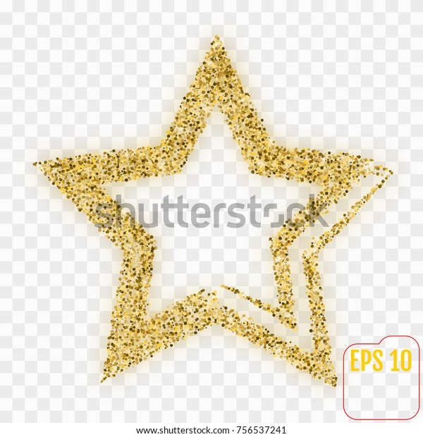 Gold star on transparent background. Vector, confetti concept.