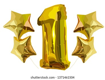 gold star and one balloons vector art isilated on white, idea for First One Year Happy Bithday