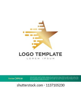 Gold Star Pixel Icon Vector Logo Template