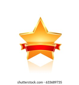 Gold star with ribbon. Vector