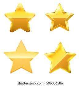 Gold star set. Vector