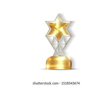gold star trophy award concept, 3D vector isolated or white background