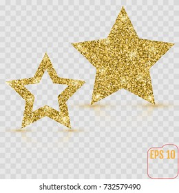 Gold star vector banner. Gold glitter. Template , card, vip, exclusive, certificate, gift luxury privilege voucher store present shopping