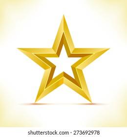 Gold star. Vector illustration. Star as 3d polygonal object.