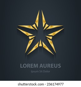 Gold star vector logo. Award 3d icon. Golden logotype template. Volume illustration.