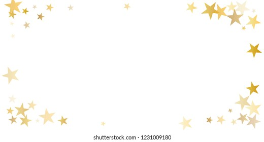 gold stars background as golden sparkles confetti falling. Christmas Flying glitter backdrop, vector corners