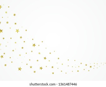 Gold stars beautifully arranged on a white background