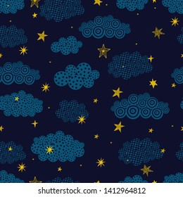 Gold stars and clouds.. Seamless vector pattern. Seamless pattern can be used for wallpaper, pattern fills, web page background, surface textures.