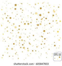 Gold stars. Confetti celebration, Falling golden abstract decoration for party, birthday celebrate, anniversary or event, festive. Festival decor. Vector illustration