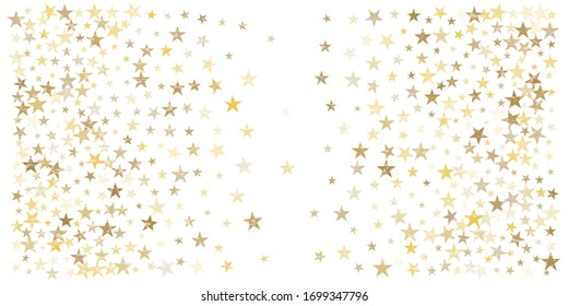 Gold stars confetti falling, Christmas holidays vector background. magic shining Flying stars on night sky and glitter dots cosmic backdrop, sparkle border.