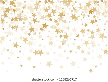 Gold stars confetti falling holidays vector background. Magic shining golden flying stars isolated on white sparkle border. Gold glitter sparkles festive party background graphic design.