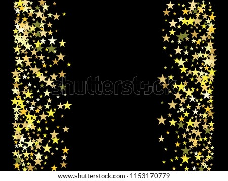 gold stars confetti vector cosmic magic light border christmas birthday party scatter gamour