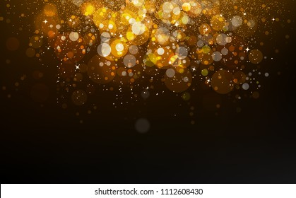 Gold stars falling confetti, dust, glowing particles scatter glitter blinking shine sparkle celebration award abstract background vector illustration