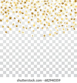 Gold stars falling confetti isolated on white transparent background. Golden abstract pattern Christmas card, New Year holiday. Shiny confetti star. Glitter explosion rain Vector illustration
