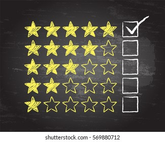 Gold stars with five rating ticked in chalk on blackboard background